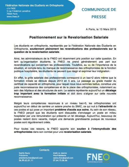 CDP-Position sur la revalorisation salariale
