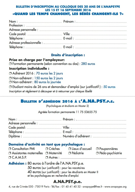 ANAPSYpe inscription COLLOQUE 2016 Quand les temps changent