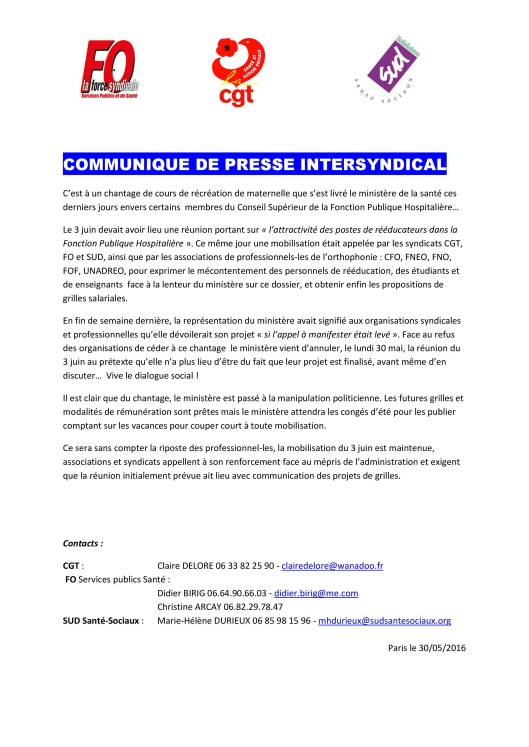 COMMUNIQUE DE PRESSE INTERSYNDICAL ortho 30 mai 2016 (1)