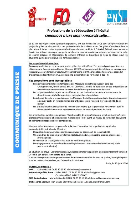 CP 48 Professions de reeducation a l'hopital- Chronique d'une mort annon...