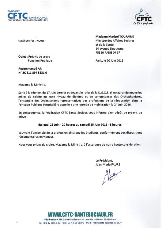 Mme TOURRAINE Préavis de grève 24 Juin 2016