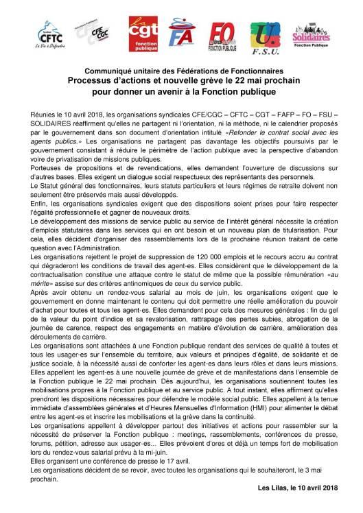 2018-05 CDP syndicats salariés toutes fonctions publiques pour le 22 mai